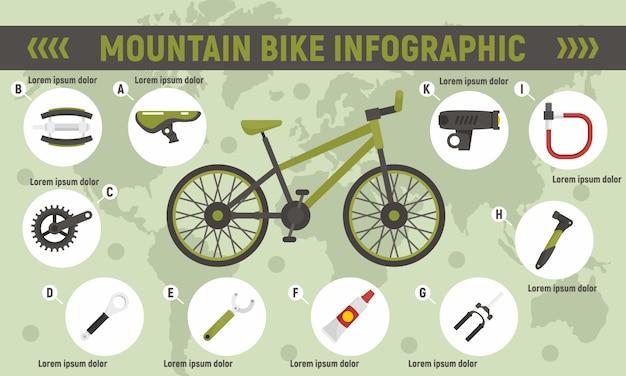 Infografía de bicicleta de montaña Vector Premium