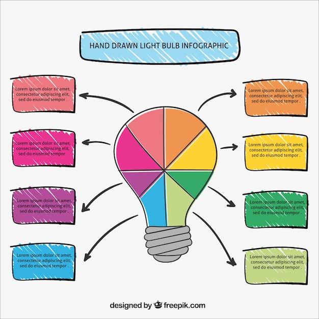 Infografía de bombilla colorida vector gratuito