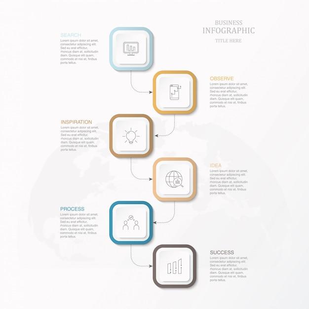 Infografía caja cuadrada para negocio. Vector Premium