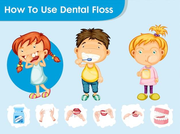 Infografía científica médica del cuidado dental con niños. vector gratuito