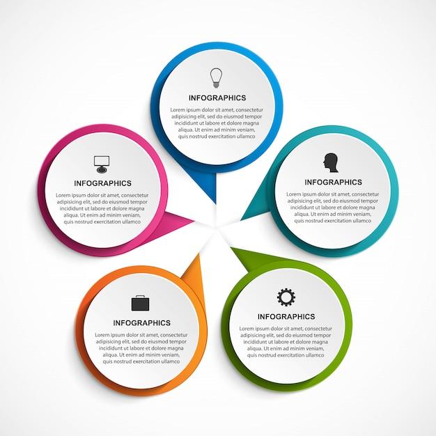 Infografía con cinco opciones para presentaciones de negocios. Vector Premium