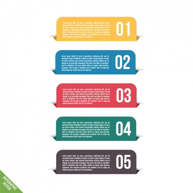Infografía con cinco pestañas a todo color vector gratuito