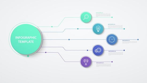 Infografía círculos opciones o pasos. concepto de negocio, diagrama de bloques, gráfico de información, procesos de gráfico circular. Vector Premium
