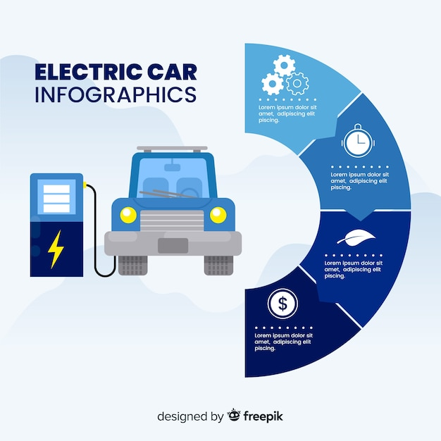 Infografía de coche eléctrico Vector Premium