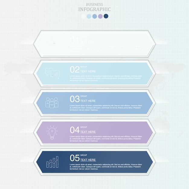 Infografía de color azul para el concepto de negocio. Vector Premium
