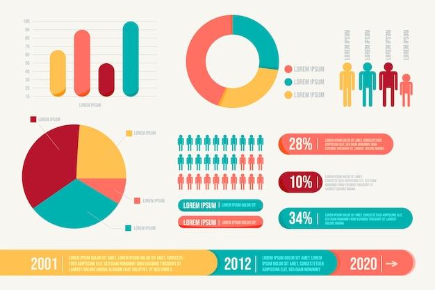 Infografía con colores retro en diseño plano Vector Premium