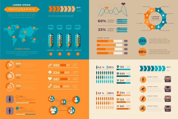 Infografía con colores retro en diseño plano vector gratuito