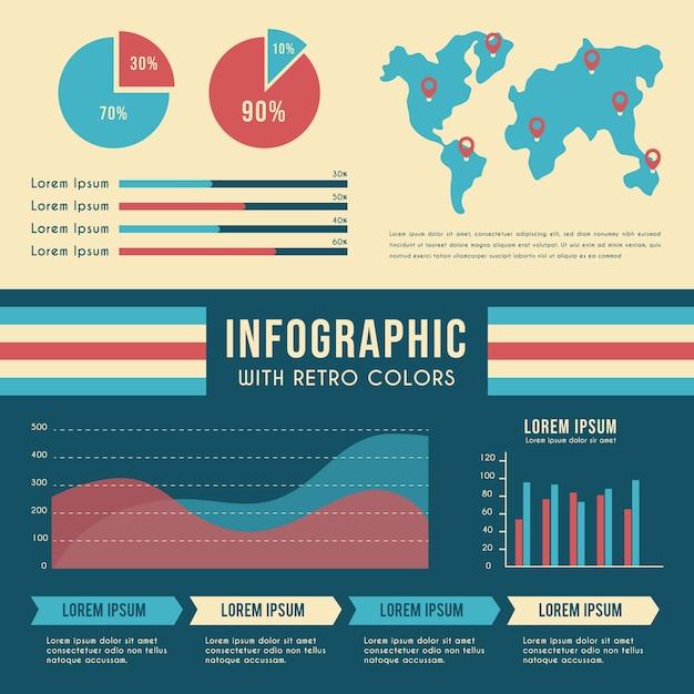 Infografía con colores retro y mapa mundial vector gratuito