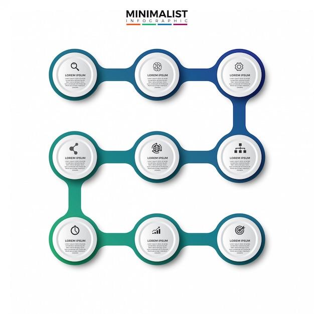 Infografía colorido diseño de línea de tiempo Vector Premium