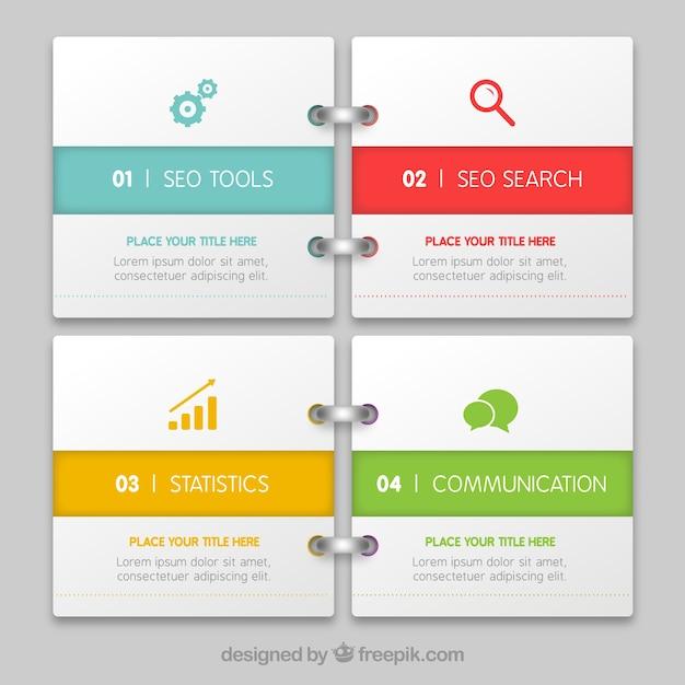infografía como un bloc de notas Vector Gratis