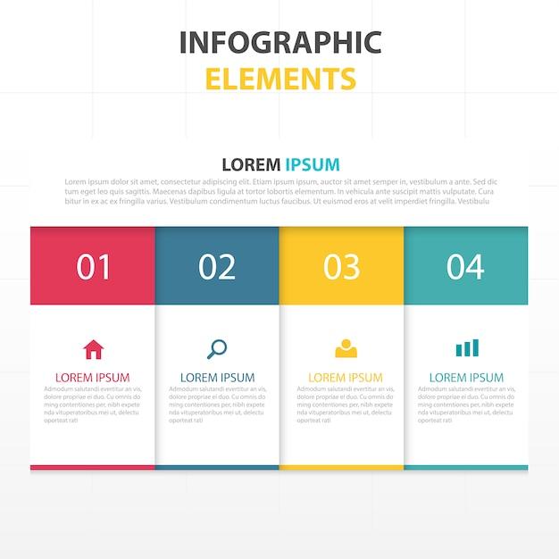 Infografía con cuatro colores Vector Gratis