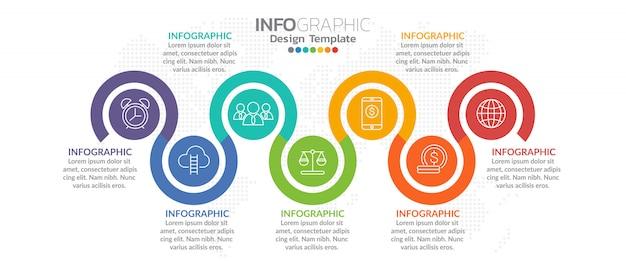 Infografía para el concepto de negocio con los iconos y opciones o pasos. Vector Premium