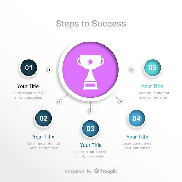 Infografía con copa al ganador vector gratuito