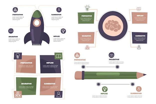Infografía de creatividad dibujada a mano vector gratuito