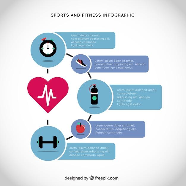 Infografía de deporte y fitness con un corazón principal