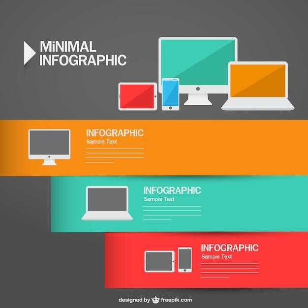 infografa de diseo minimalista de dispositivos tecnolgicos vector gratis - Diseo Minimalista