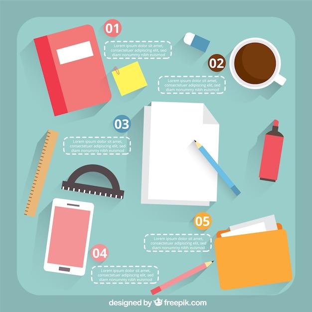 Infograf a de material de oficina descargar vectores gratis for Material de oficina murcia