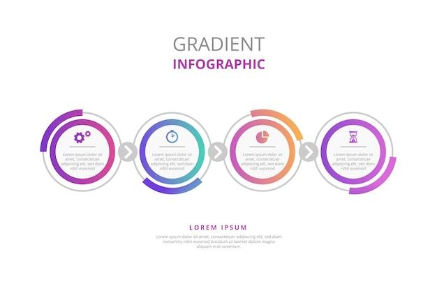 Infografía degradada con pasos vector gratuito
