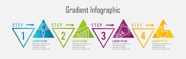 Infografía de degradado con cuatro pasos triangulares Vector Premium