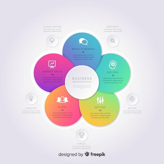 Infografía de degradado en diseño plano vector gratuito