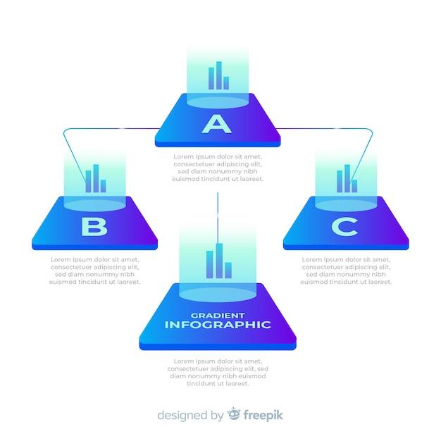 Infografía de degradado con gráficos piramidales vector gratuito