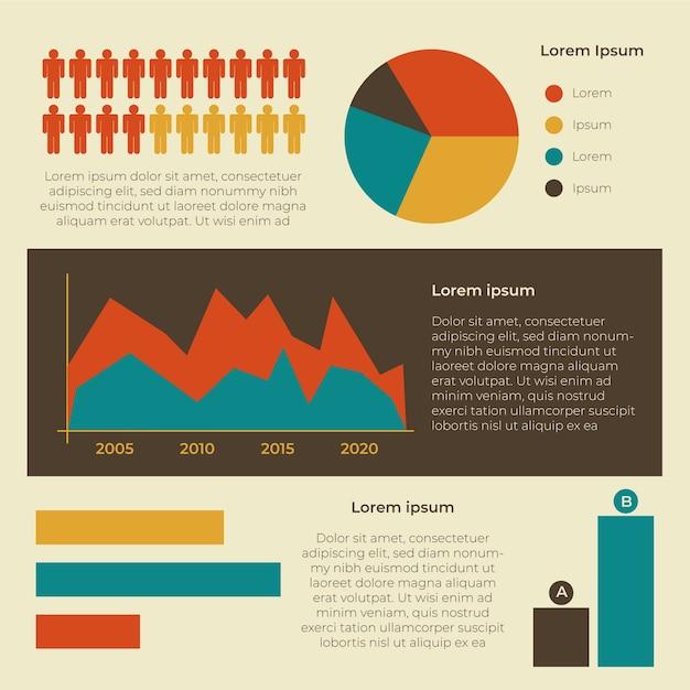 Infografía demográfica con colores retro. vector gratuito