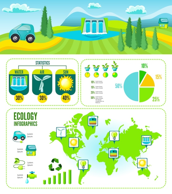 Infografía de dibujos animados ecológico vector gratuito