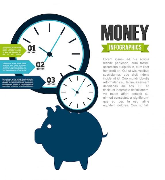 Infografia de dinero Vector Premium