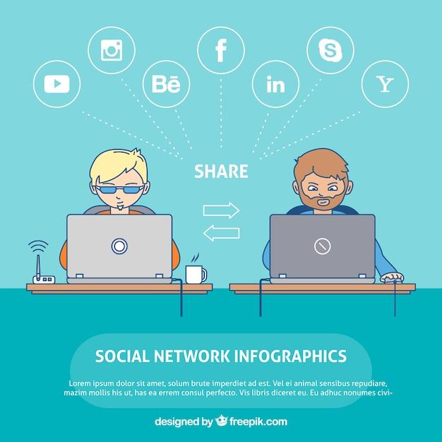 Infografía con dos personas conectadas a las redes sociales vector gratuito
