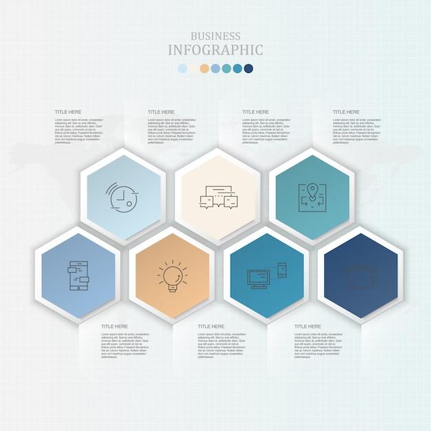 Infografía e iconos para el concepto de negocio actual. Vector Premium