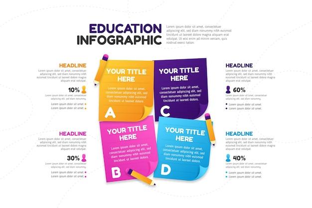 Infografía de educación en diseño degradado Vector Premium