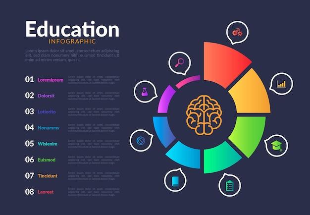 Infografía de educación de plantilla de degradado vector gratuito