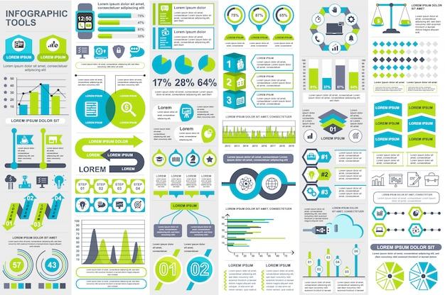 Infografía elementos vector plantilla de diseño Vector Premium