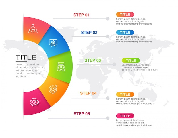 Infografía empresarial con 5 pasos Vector Premium