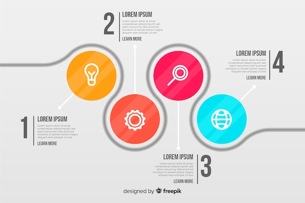 Infografía empresarial con círculos conectados vector gratuito