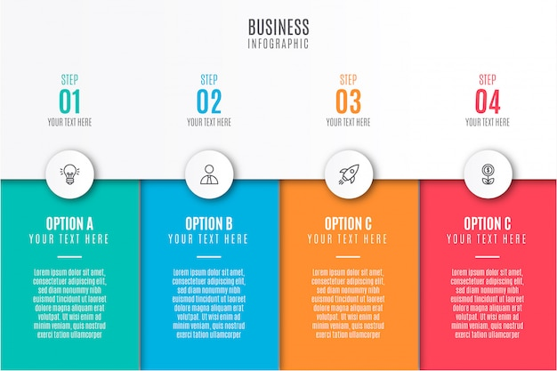 Infografía empresarial moderna con iconos vector gratuito
