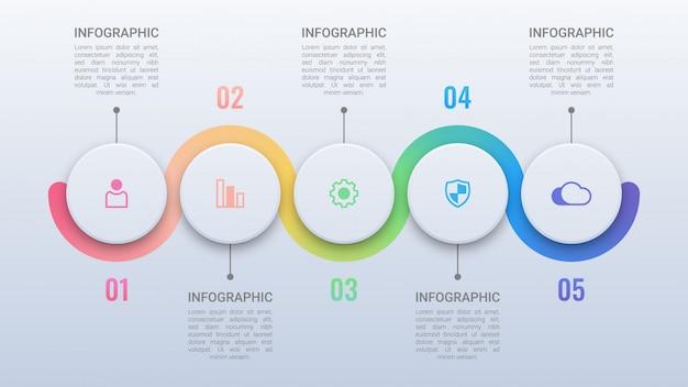 Infografía empresarial simple con opciones Vector Premium