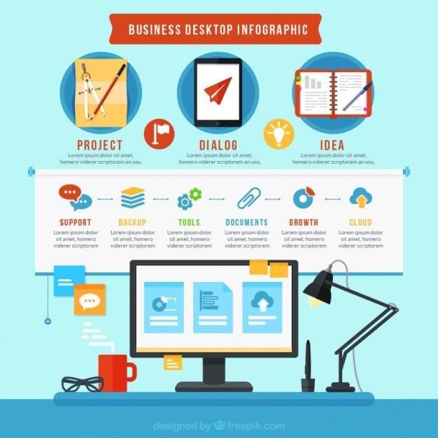 Infografía de escritorio de negocios vector gratuito