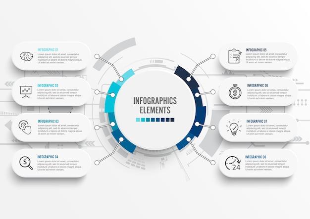 Infografía con etiqueta de papel. negocio con 8 opciones. Vector Premium