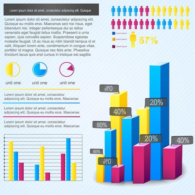 Infografía de gráfico de barras multicolor con porcentaje de proporción de personas y lugar para el texto vector gratuito