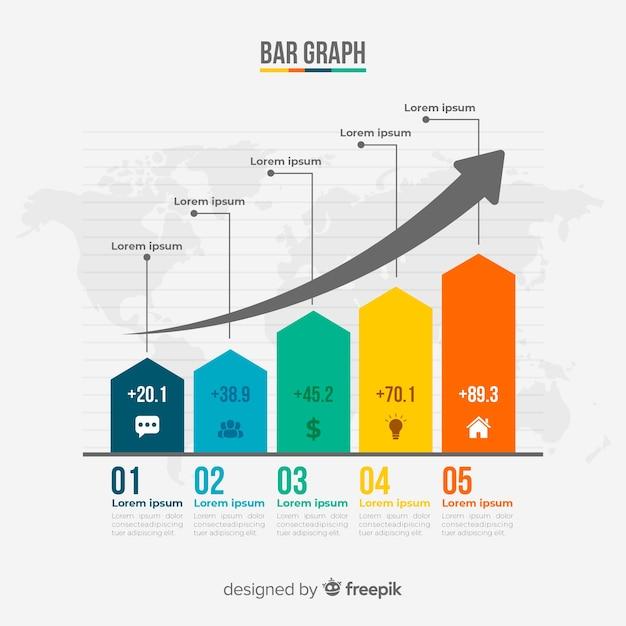 Infografía de gráfico de barras Vector Premium