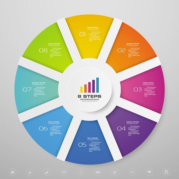 Infografía de gráfico de ciclo para presentación de datos. Vector Premium
