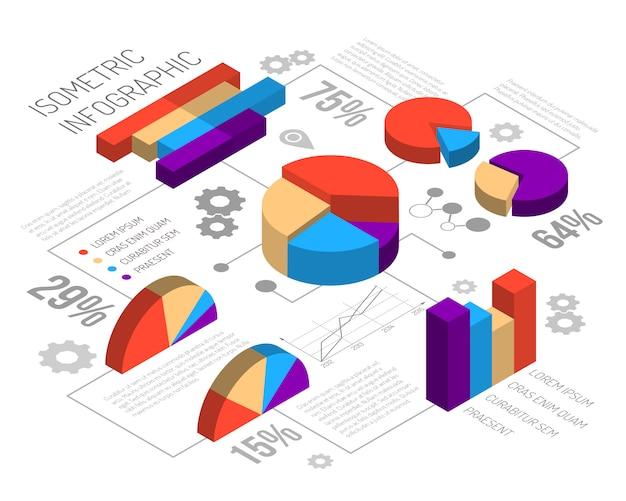 Infografía de gráfico circular isométrica vector gratuito
