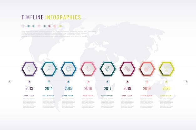 Infografía de historia de la empresa con elementos hexagonales, indicación del año y mapa mundial en Vector Premium