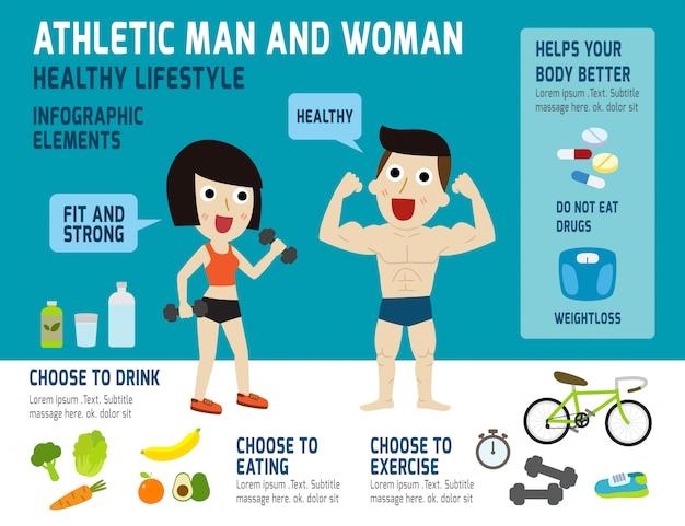 Infografía de hombre y mujer atlética Vector Premium