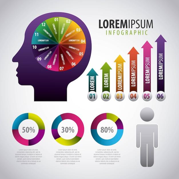 Infografía humano cabeza cerebro gráfico flecha población Vector Premium