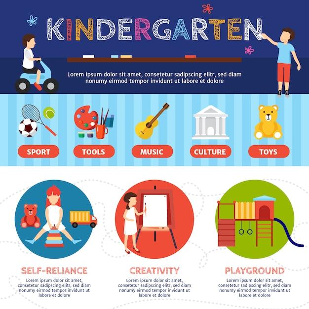 Infografía de jardín infantil con deporte y cultura símbolos vector plano ilustración vector gratuito