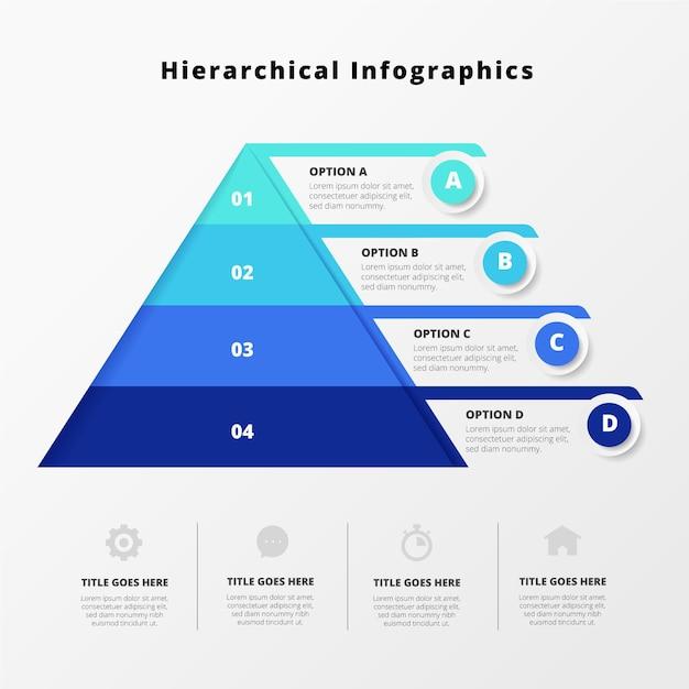 Infografía jerárquica azul creativa. vector gratuito