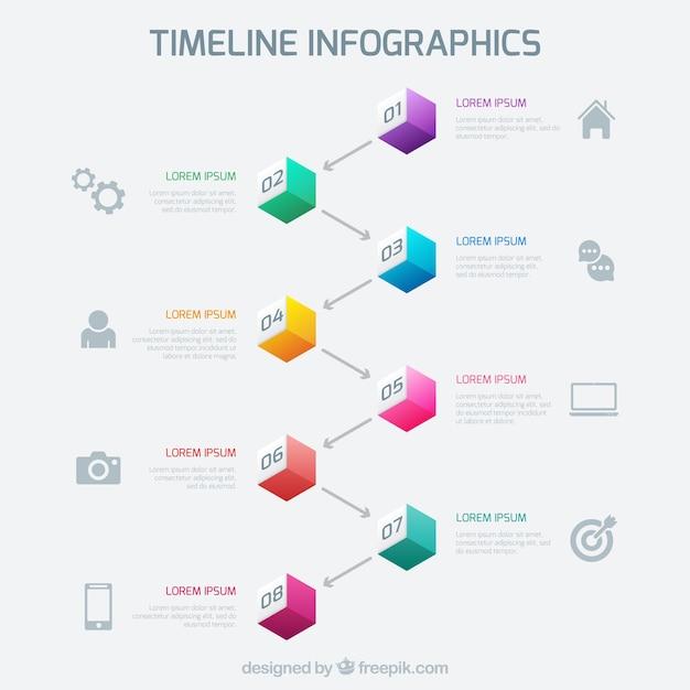 Infografía línea de tiempo con cubos de colores | Descargar Vectores ...