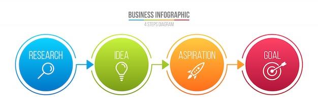 Infografía línea paso opciones, plantilla de negocio. Vector Premium